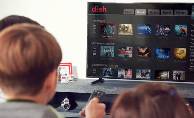 Multifamily community residents watching DISH TV with DISH Fiber upgrade