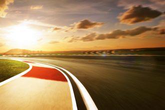 Motion blurred racetrack,sunset mood mood