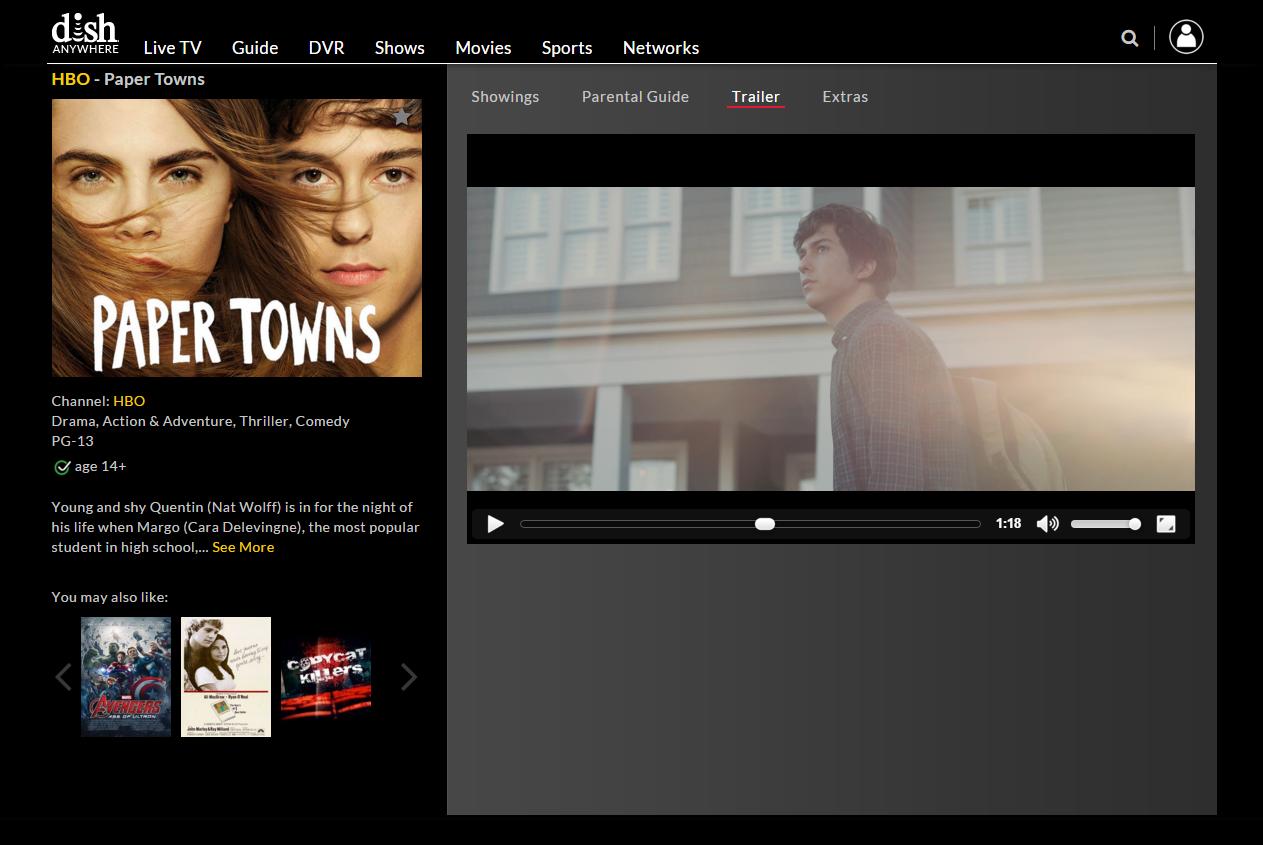 DISHAnywhere.com Movie & TV Trailers